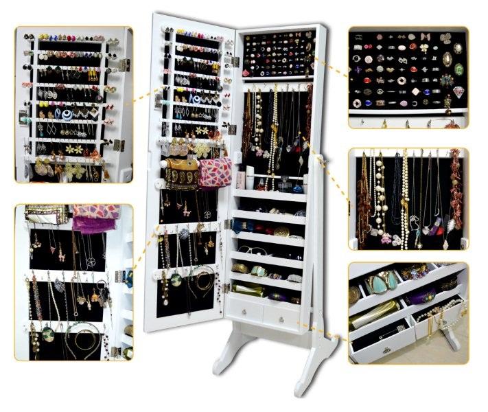 schmuckschrank weiss spiegel spiegelschrank standspiegel schmuckkasten ohrringe ebay. Black Bedroom Furniture Sets. Home Design Ideas