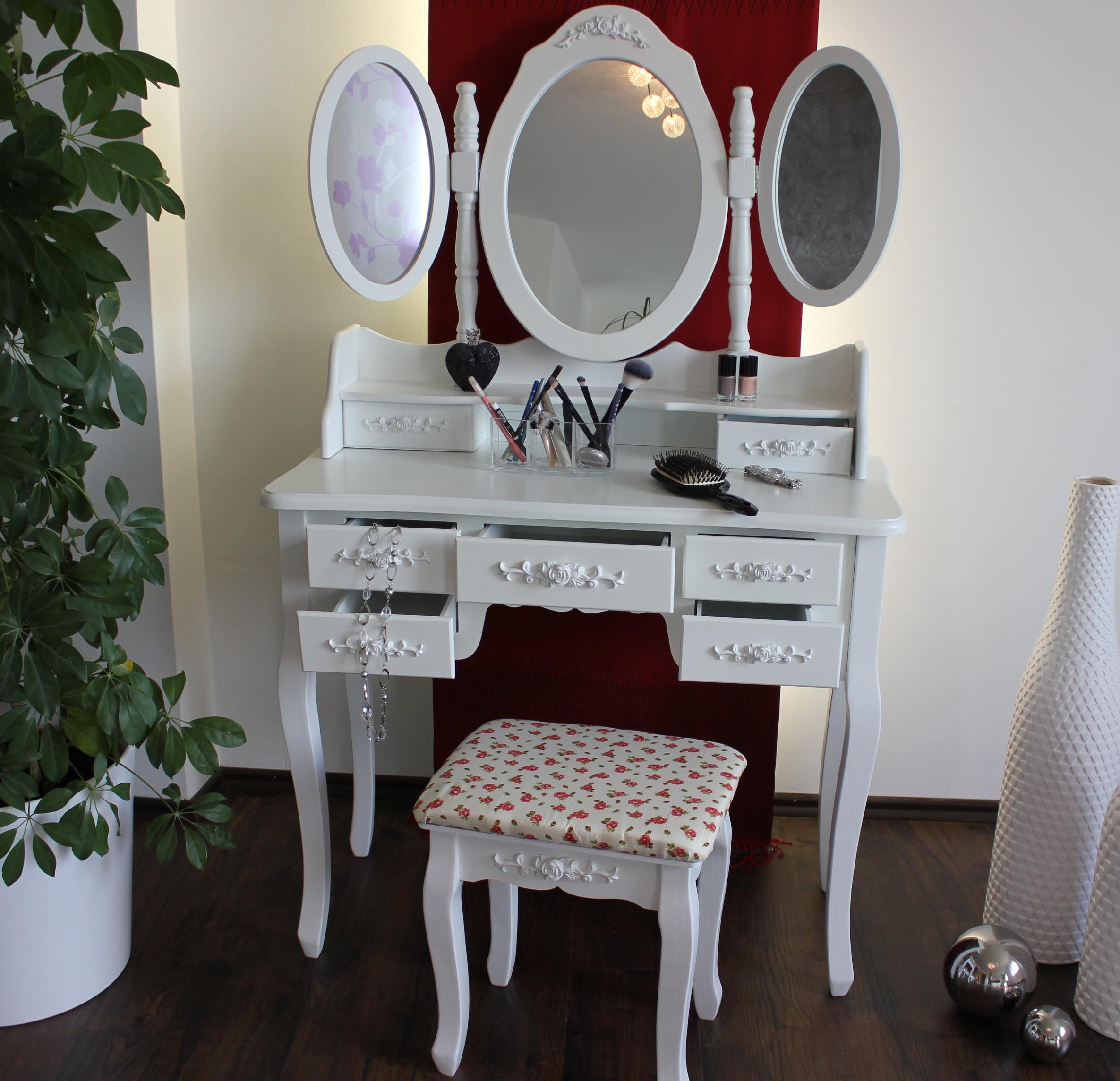xxl schminktisch inkl hocker spiegel frisiertisch kosmetiktisch landhaus weiss ebay. Black Bedroom Furniture Sets. Home Design Ideas