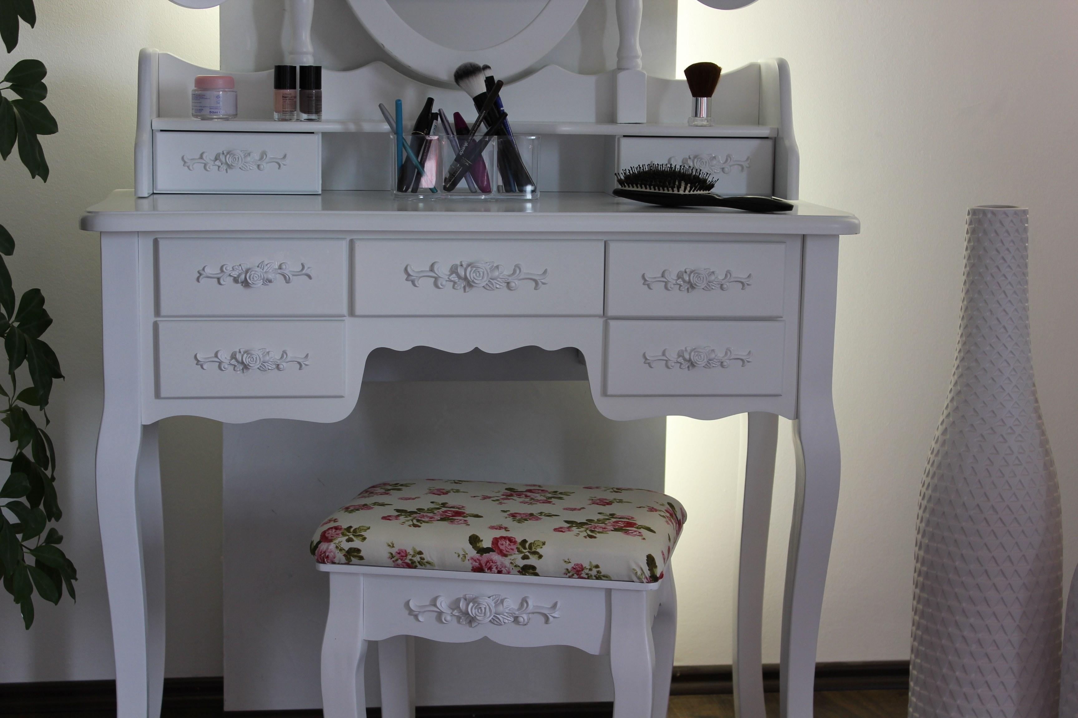 xxlschminktisch inkl hocker spiegel frisiertisch frisierkommode kosmetiktisch ebay. Black Bedroom Furniture Sets. Home Design Ideas