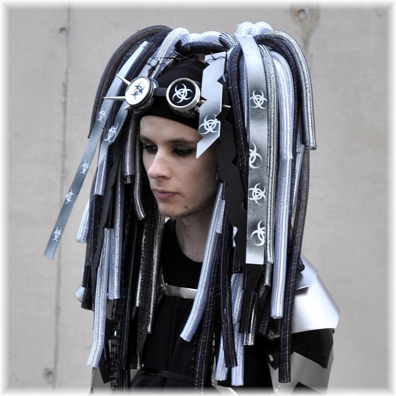 cyber haarteil silber schwarz uv cyberlocks cyberfalls locks falls gothic rave ebay. Black Bedroom Furniture Sets. Home Design Ideas