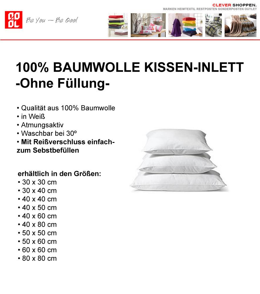 kissen inlett 100 baumwolle in wei in 16 gr en f llkissen ohne f llung ebay. Black Bedroom Furniture Sets. Home Design Ideas