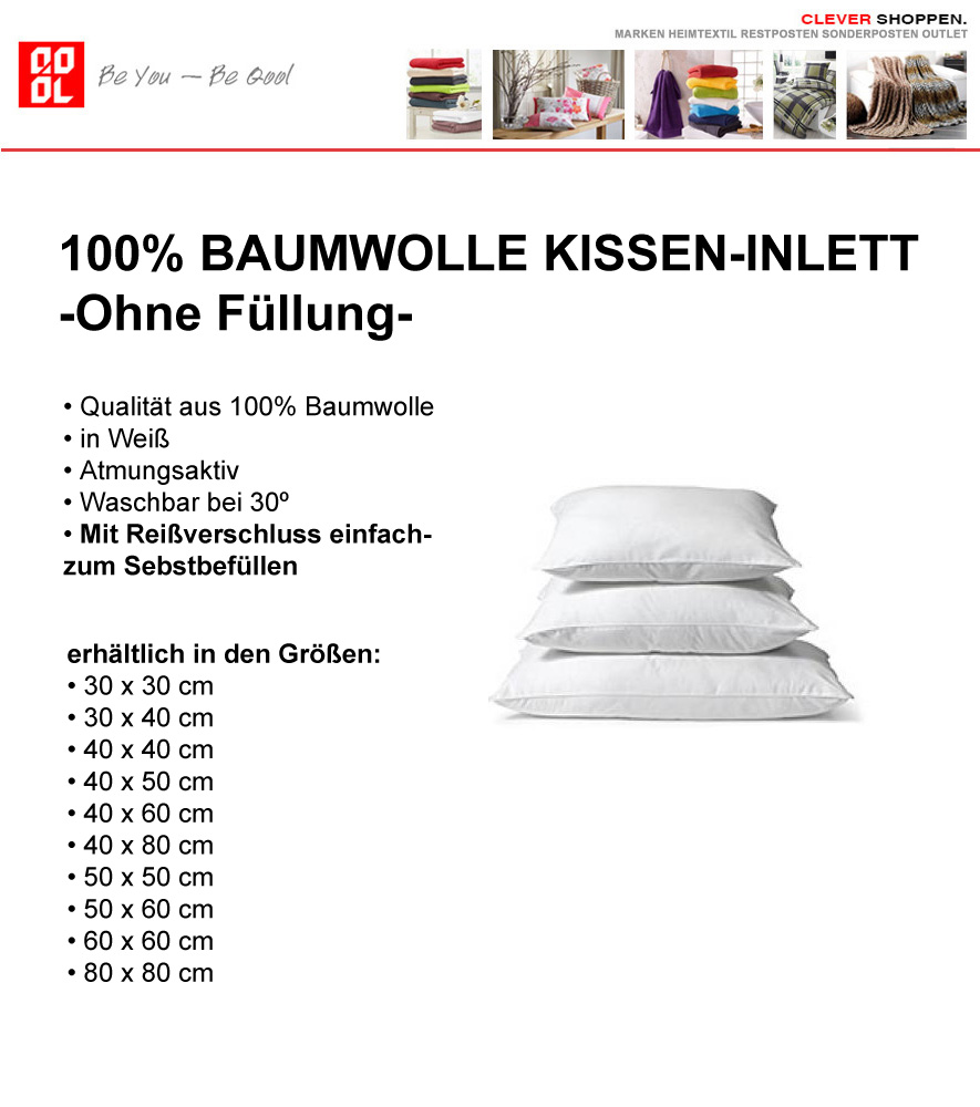 kissen inlett 100 baumwolle in wei in 16 gr en f llkissen ohne f llung ebay. Black Bedroom Furniture Sets. Home Design Ideas