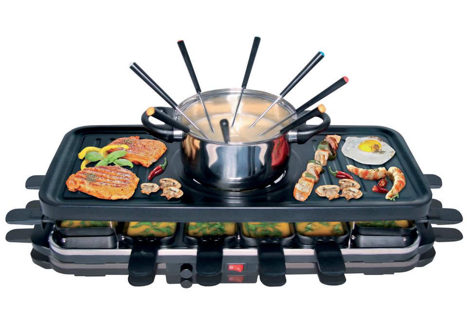 rtc keramik 12 raclette fondue set grill tischgrill grillplatte b ware ebay. Black Bedroom Furniture Sets. Home Design Ideas