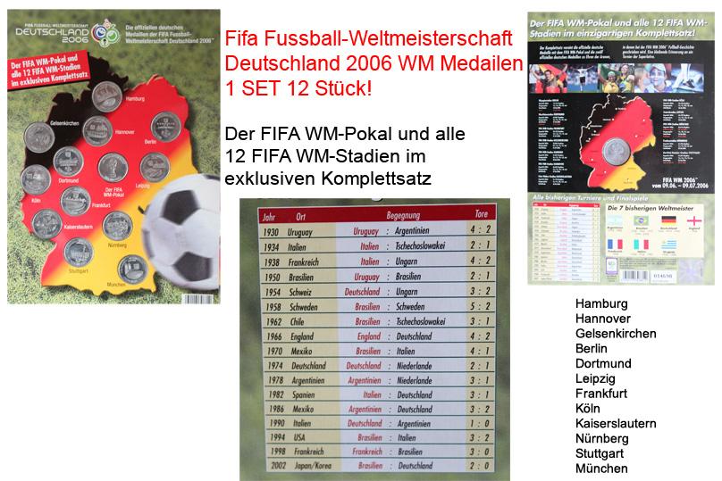 offizielle fifa fu ball wm 2006 deutschland medaillen m nzen 12 stadien set ebay. Black Bedroom Furniture Sets. Home Design Ideas