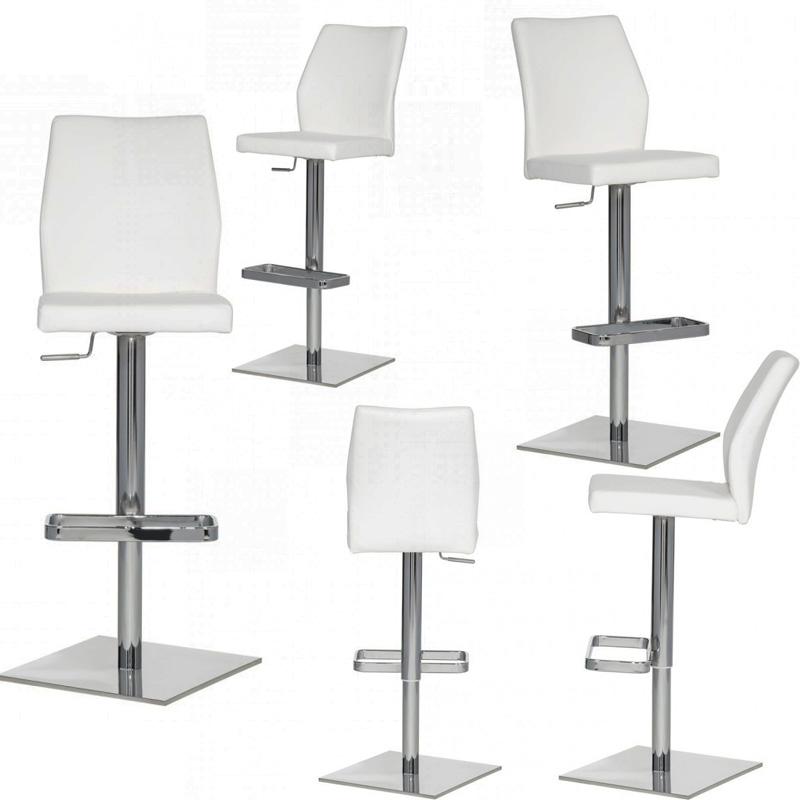 qool24 design barhocker h240209 echtleder leder metall verchromt wei ebay. Black Bedroom Furniture Sets. Home Design Ideas