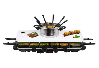 rtc keramik 12 raclette fondue set grill tischgrill grillplatte wei b ware ebay. Black Bedroom Furniture Sets. Home Design Ideas