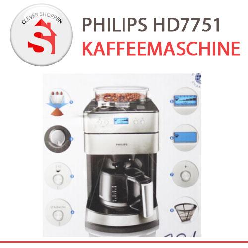 philips kaffeemaschine hd7751 mit mahlwerk edelstahl. Black Bedroom Furniture Sets. Home Design Ideas