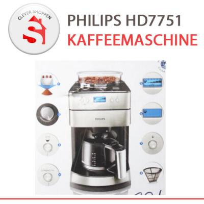 philips kaffeemaschine hd7751 mit mahlwerk edelstahl design b ware ebay. Black Bedroom Furniture Sets. Home Design Ideas