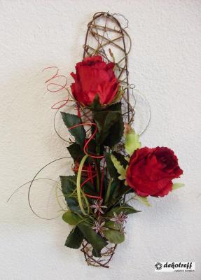 wandgitter wandgesteck mit rose rot kunstblumen. Black Bedroom Furniture Sets. Home Design Ideas