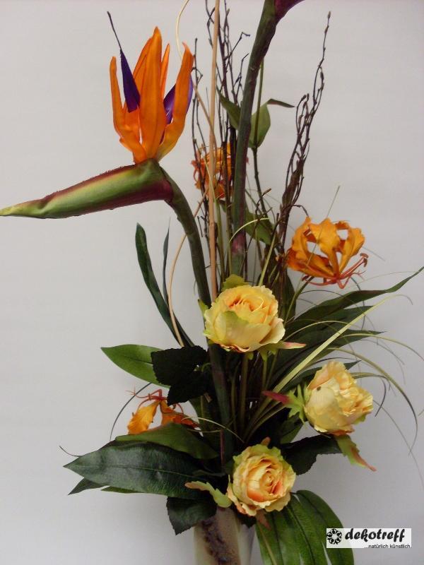 strau strelizie und rosenzweig orange gelb kunstblumen seidenblumen ebay. Black Bedroom Furniture Sets. Home Design Ideas