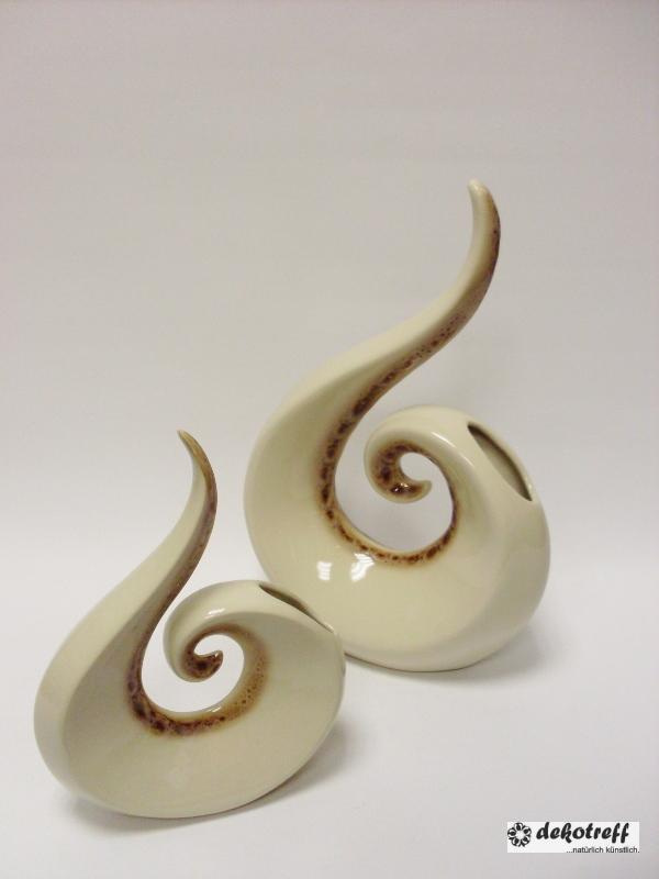 keramik vase spirale ge ffnet gro creme braun gl nzend 33 cm ebay. Black Bedroom Furniture Sets. Home Design Ideas