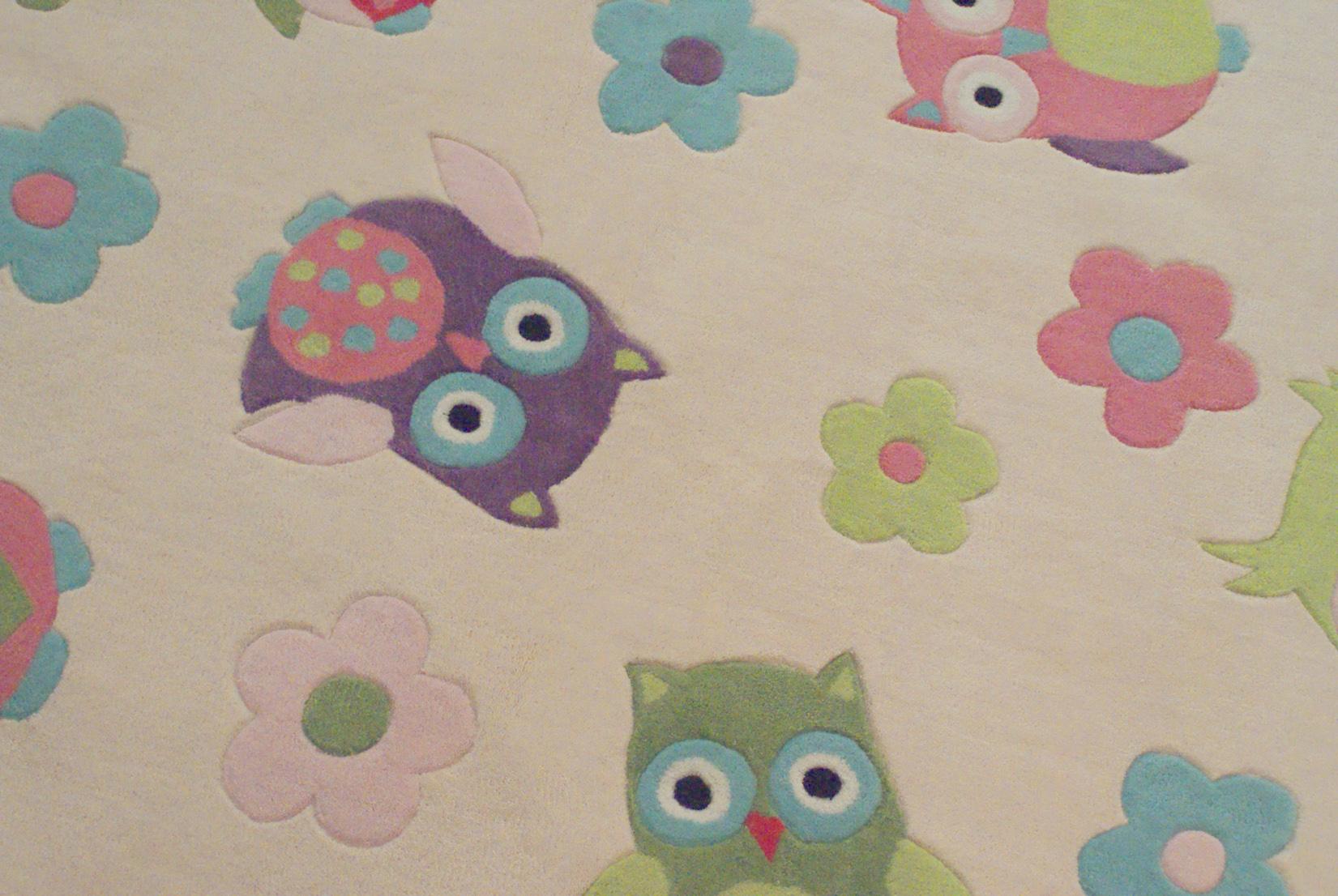 Kinderteppich eule  Kinderteppich EULE multicolour pastell 135x190cm