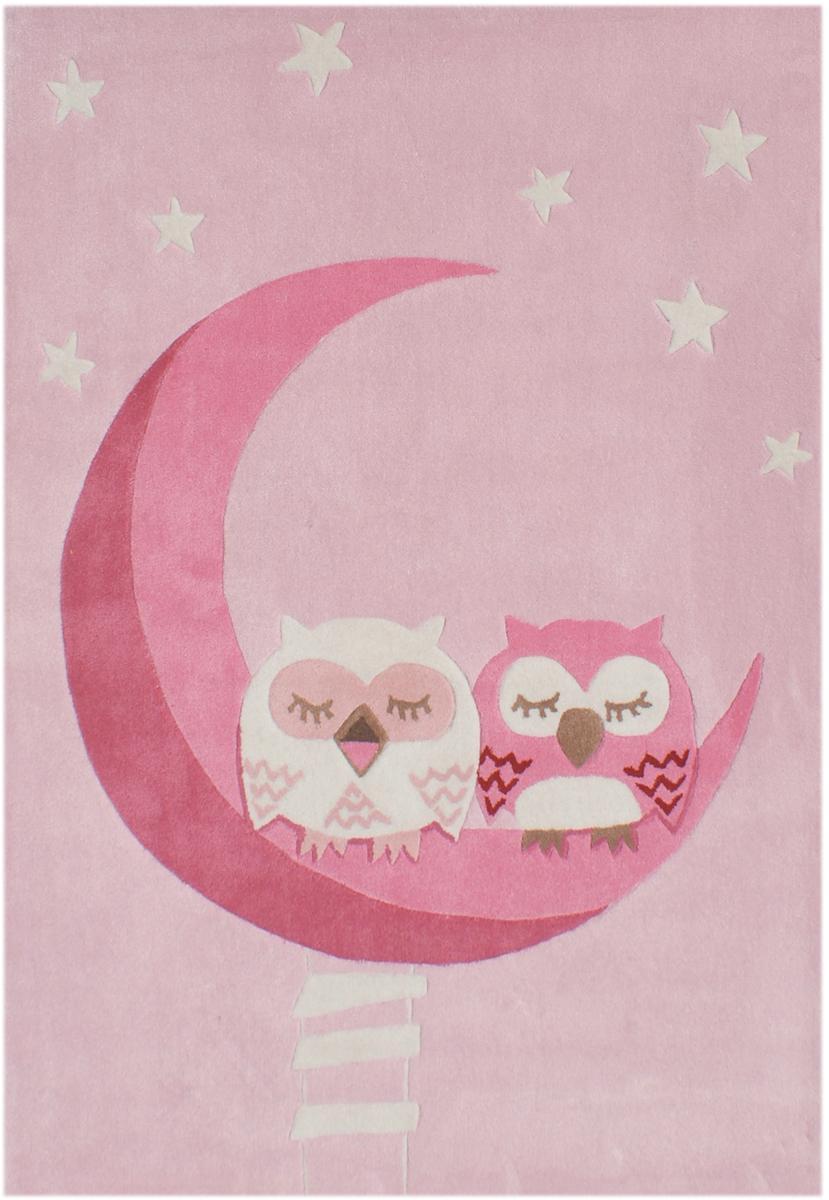 kinderteppich schlafende eulen rosa 135x190cm sonderpreis ebay. Black Bedroom Furniture Sets. Home Design Ideas