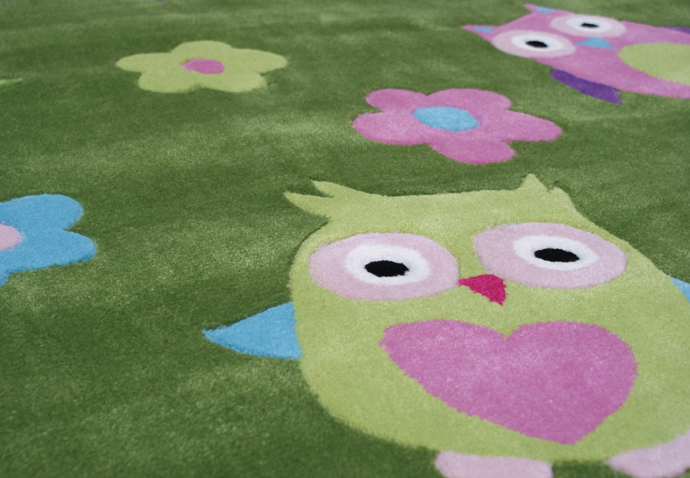 Kinderteppich eule grün  Kinderteppich EULE multicolour grün 135x190cm