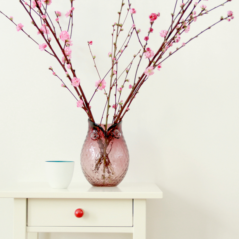 Deko Vasen vase blumenvase deko vasen vase eule violett h 21cm ebay