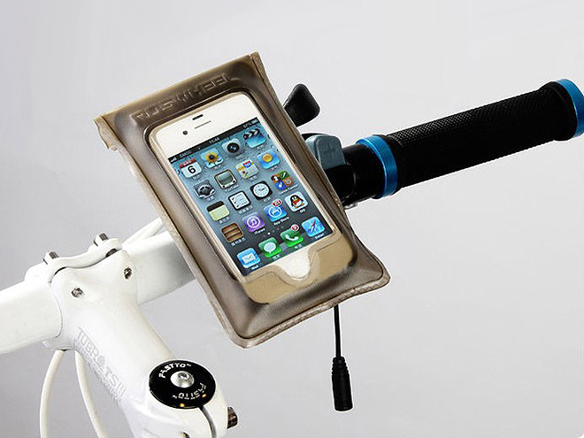 iphone wasserdichte handytasche fahrrad moped lenker halterung mit audiokabel ebay. Black Bedroom Furniture Sets. Home Design Ideas