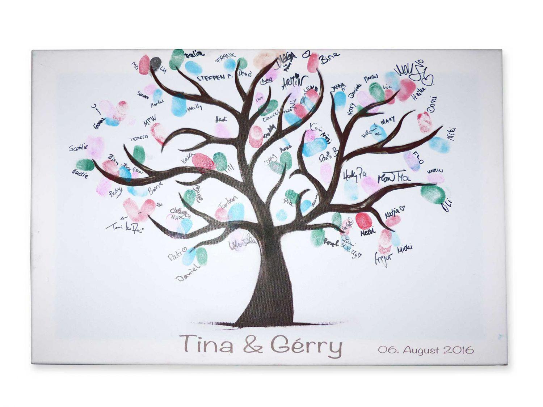 Fingerabdruck hochzeitsbaum personalisiert druck leinwand keilrahmen g stebuch ebay - Hochzeitsbaum leinwand ...