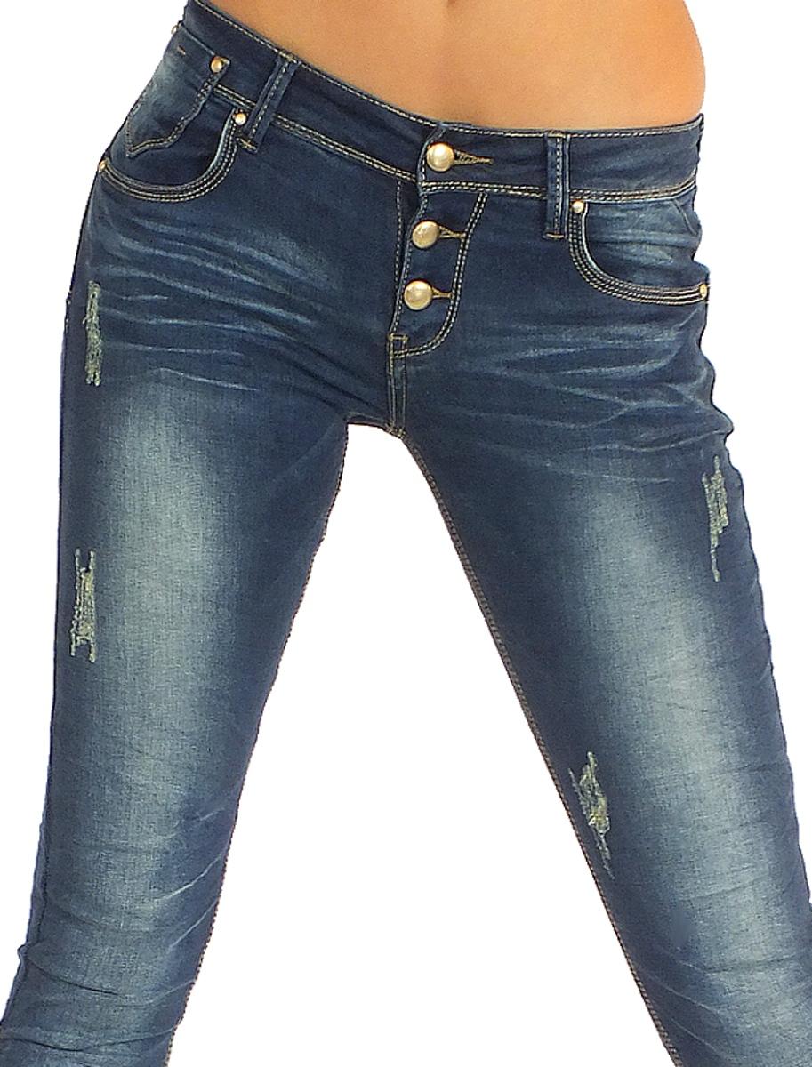 coole damen jeans mit knopfen von daysie denim destroyed. Black Bedroom Furniture Sets. Home Design Ideas