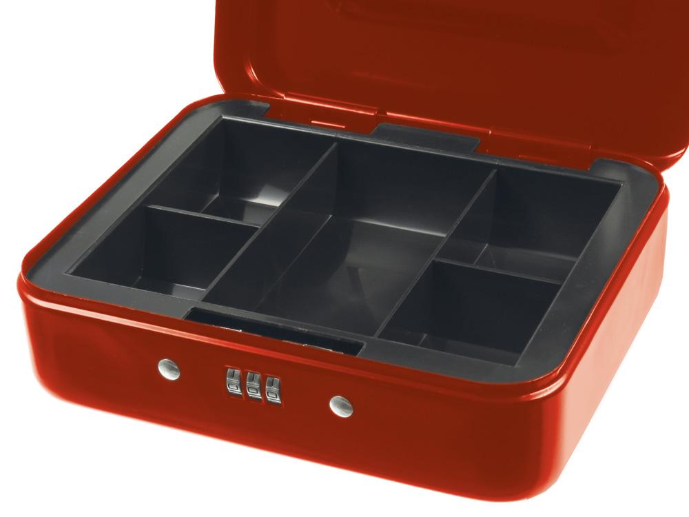 geldkassette mit zahlenschloss rot 200 x 160 x 75 mm ebay. Black Bedroom Furniture Sets. Home Design Ideas