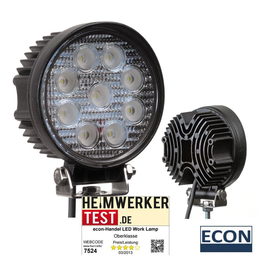 LED Arbeitsscheinwerfer, 27 Watt, 9-30 Volt,1800 Lumen, 60 Grad (rund)  eBay