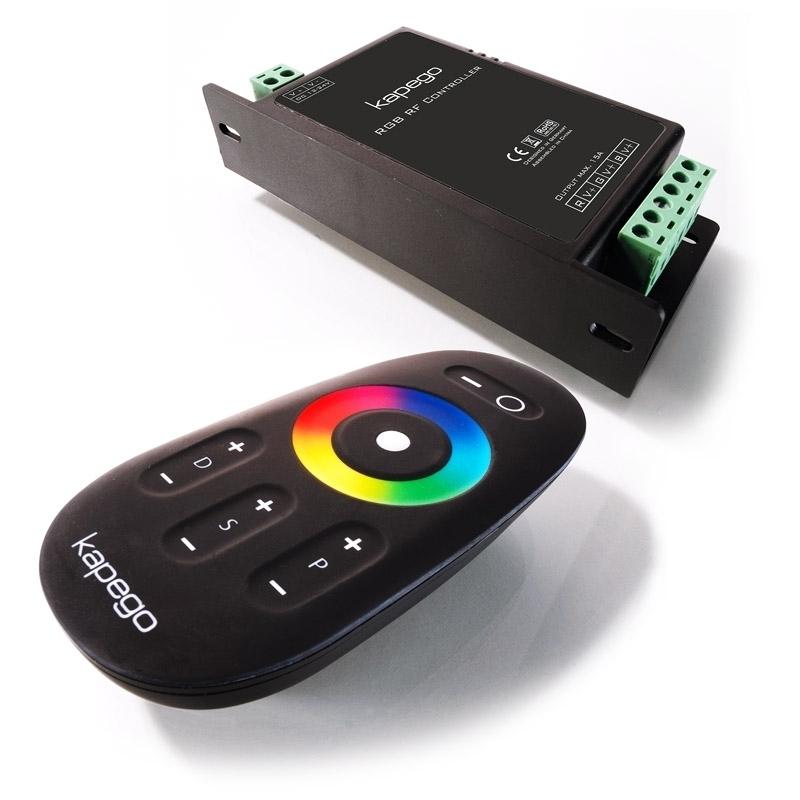 kapego rgb rf controller 12 24v led funk lichtsteuerung inkl fernbedienung ebay. Black Bedroom Furniture Sets. Home Design Ideas