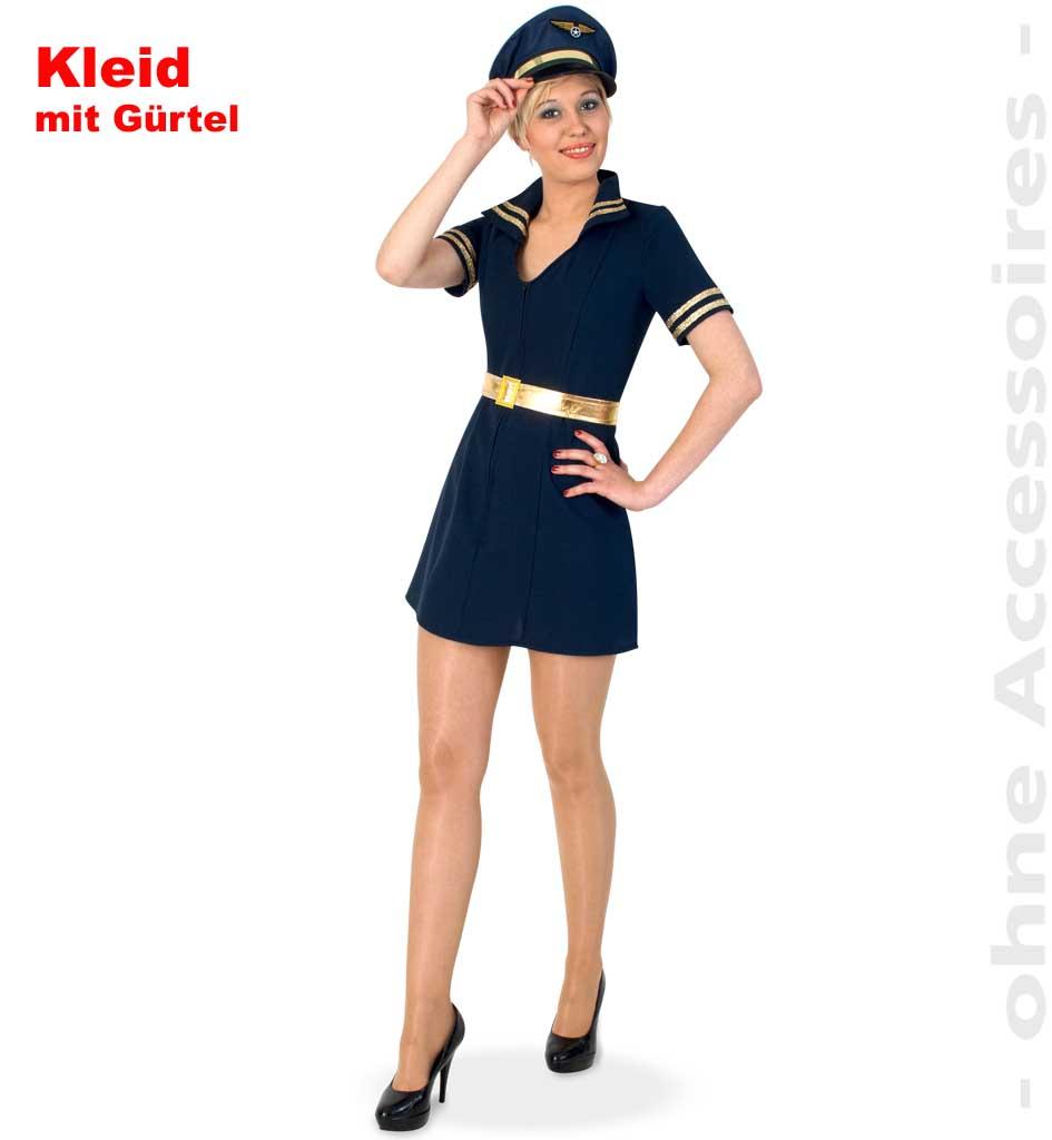 fasching karneval pilotin kleid mit g rtel damen kost m gr. Black Bedroom Furniture Sets. Home Design Ideas