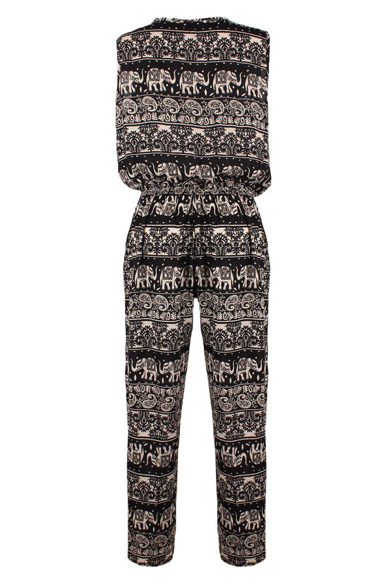 overall jumpsuit mit azteken ethno muster schwarz 36 40. Black Bedroom Furniture Sets. Home Design Ideas