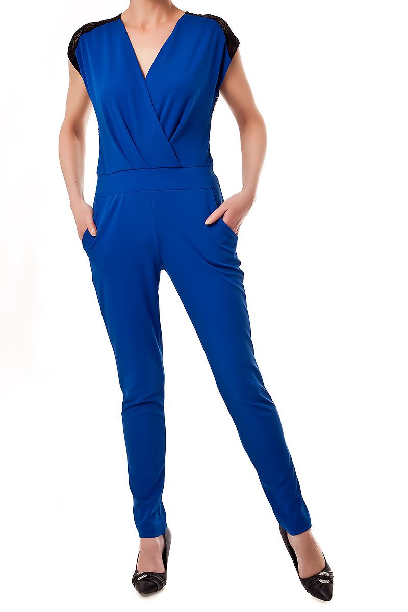 overall jumpsuit lang und elegant mit spitzen r cken einsatz royalblau 34 38 ebay. Black Bedroom Furniture Sets. Home Design Ideas