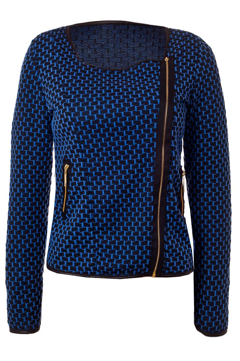 blazer kurzjacke ohne kragen allover muster blau schwarz. Black Bedroom Furniture Sets. Home Design Ideas
