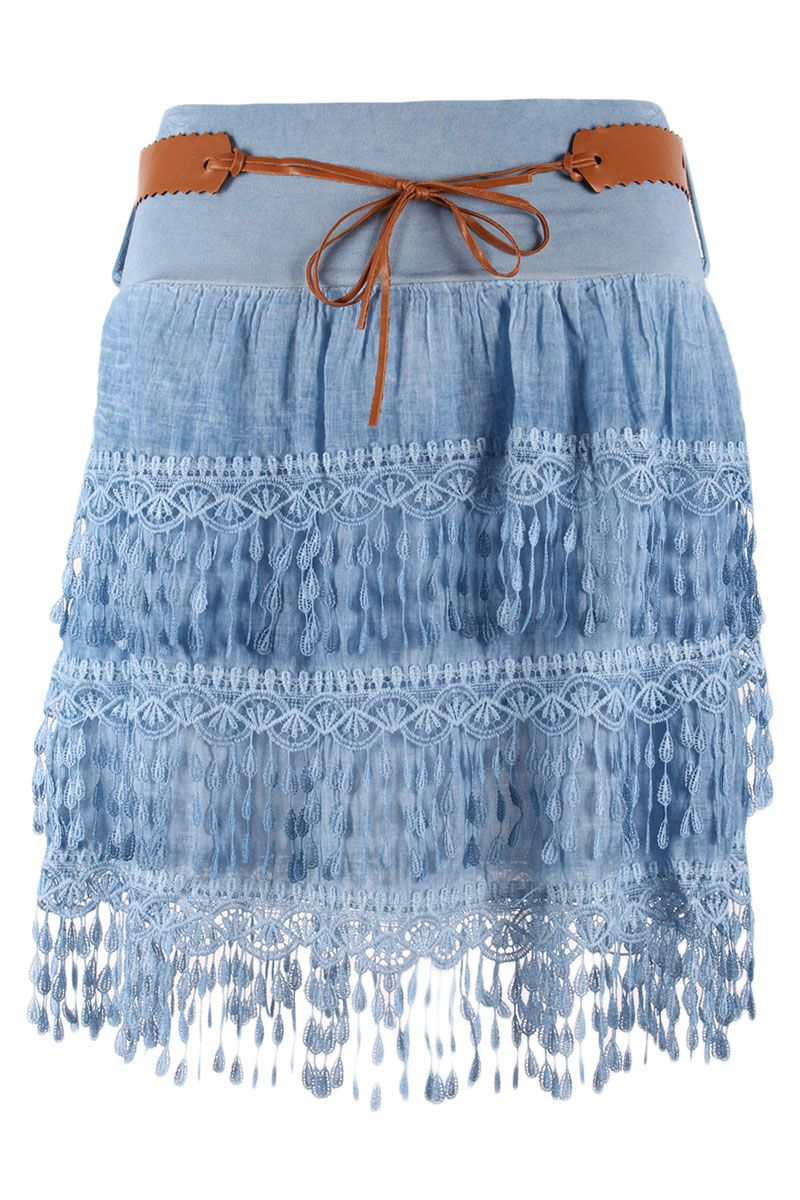 sommerrock kurz minirock mit h kel spitzen deko und fransen jeansblau 34 40 ebay. Black Bedroom Furniture Sets. Home Design Ideas