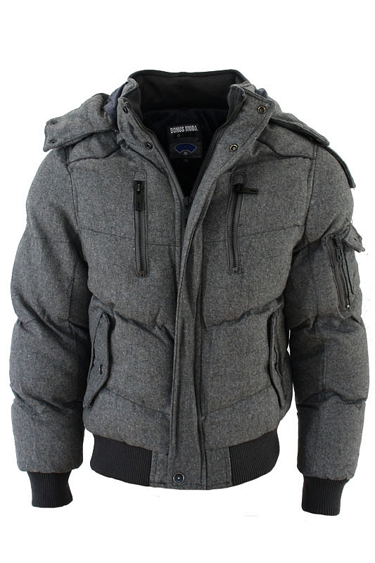 brandneu warme jacke winterjacke mit kapuze herren daunen look mantel schwarz ebay. Black Bedroom Furniture Sets. Home Design Ideas
