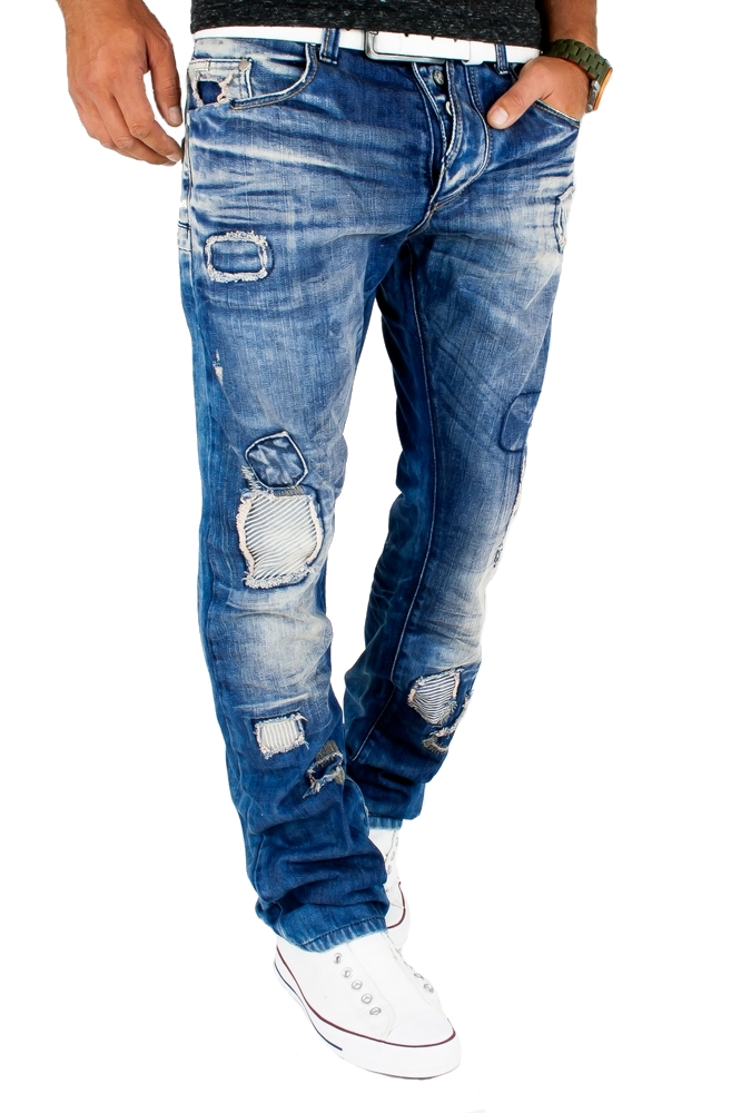 cipo baxx jeans herren hose patches destroyed used look. Black Bedroom Furniture Sets. Home Design Ideas