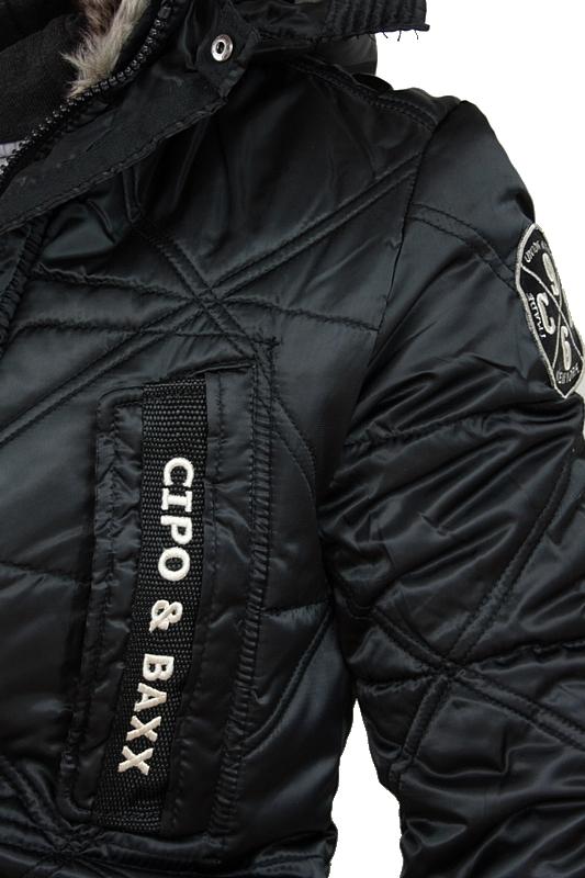 cipo baxx jacke warme herren winterjacke kapuze schwarz. Black Bedroom Furniture Sets. Home Design Ideas