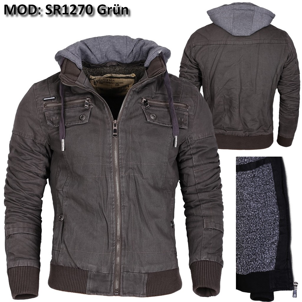 herren jacke winterjacke warm gef ttert parka mantel kapuze bomber schwarz neu ebay. Black Bedroom Furniture Sets. Home Design Ideas