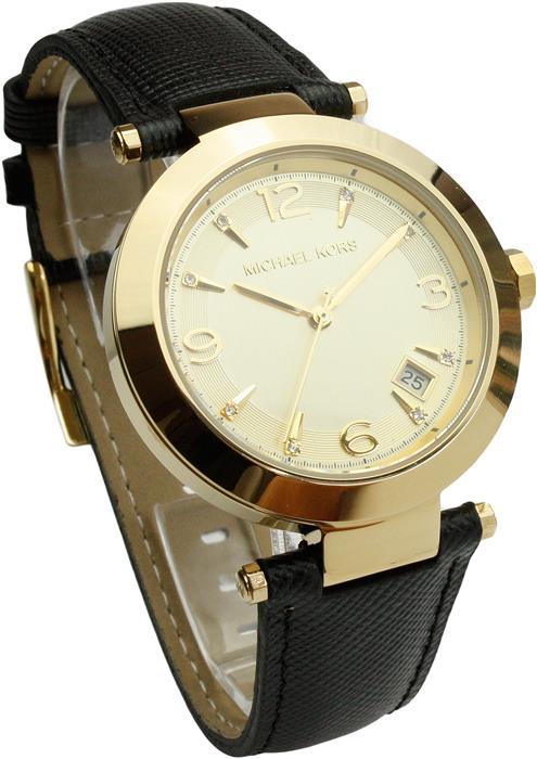 michael kors uhr damenuhr armbanduhr leder gold mk2294 neu ebay. Black Bedroom Furniture Sets. Home Design Ideas