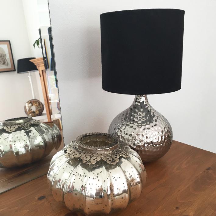 tischlampe kugel silber mit schirm tischleuchte shabby. Black Bedroom Furniture Sets. Home Design Ideas
