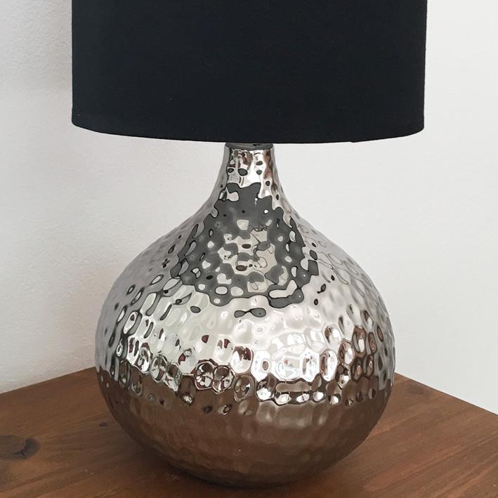tischlampe kugel silber mit schirm tischleuchte shabby vintage nostalgie landhau ebay. Black Bedroom Furniture Sets. Home Design Ideas