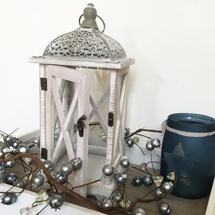 Laterne Windlicht Metall Weiß Shabby Vintage Weihnachten: Windlicht BRETAGNE Weiß-grau Laterne Metalldach Holz