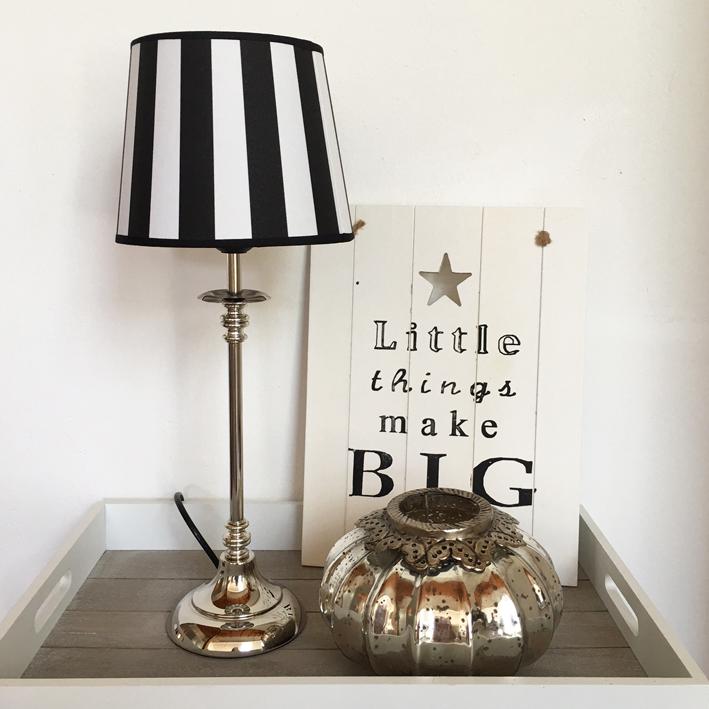 tischlampe stripes schwarz wei tischleuchte shabby vintage nostalgie landhaus ebay. Black Bedroom Furniture Sets. Home Design Ideas