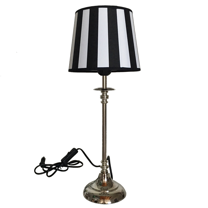 tischlampe tischleuchte schwarz wei stripes shabby vintage nostalgie landhaus ebay. Black Bedroom Furniture Sets. Home Design Ideas