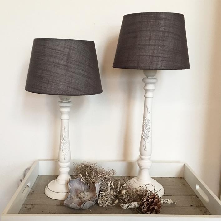 lampe antique roses holz wei taupe shabby vintage nostalgie landhaus ebay. Black Bedroom Furniture Sets. Home Design Ideas
