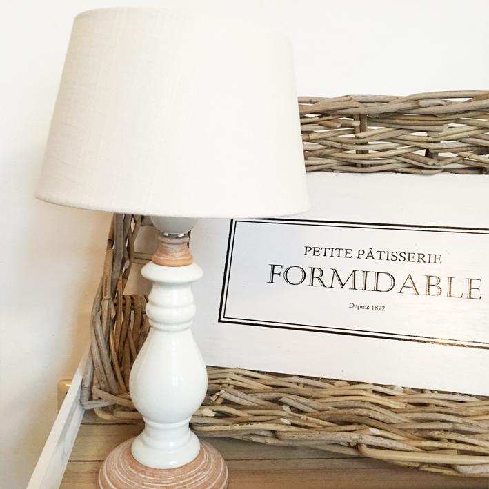 tischlampe ceramique natur wei inkl schirm tischleuchte shabby vintage nostalg ebay. Black Bedroom Furniture Sets. Home Design Ideas