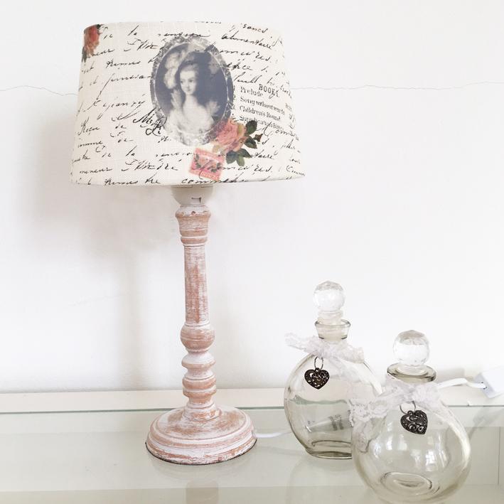 tischlampe letters roses natur wei inkl schirm tischleuchte shabby vintage n ebay. Black Bedroom Furniture Sets. Home Design Ideas