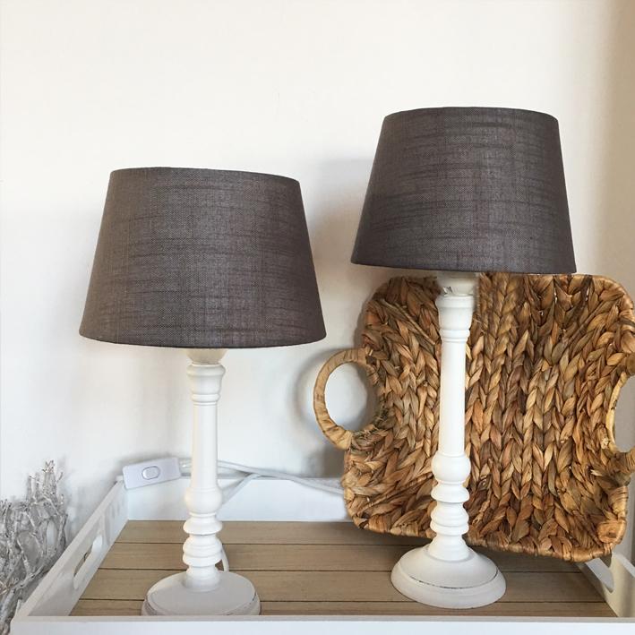 lampe marie holz 2 gr en wei taupe shabby vintage nostalgie landhaus ebay. Black Bedroom Furniture Sets. Home Design Ideas