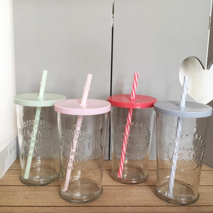 trinkglas summertime 4 farben deckel strohhalm smoothie retro trinkgl ser ebay. Black Bedroom Furniture Sets. Home Design Ideas