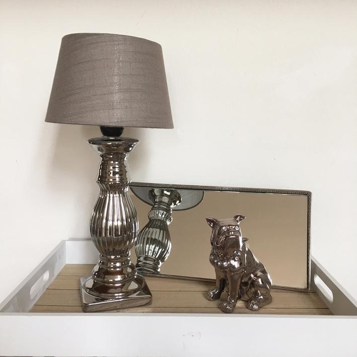 tischlampe elegant chic silber taupe mit schirm tischleuchte shabby vintage nost ebay. Black Bedroom Furniture Sets. Home Design Ideas