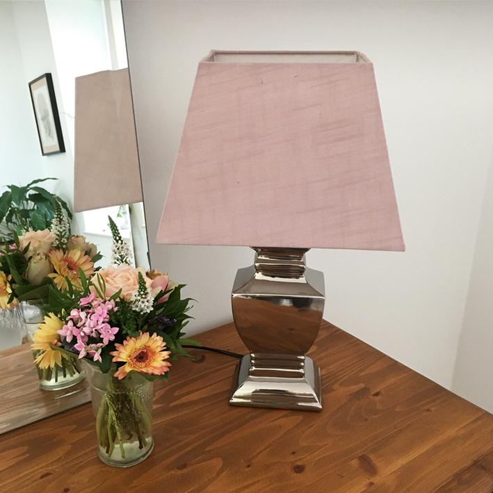 tischlampe ros silber 54 cm tischleuchte shabby vintage nostalgie landhaus ebay. Black Bedroom Furniture Sets. Home Design Ideas