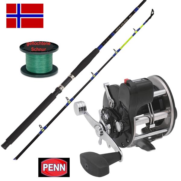 Norwegen-Angelset-Rute-Penn-Multirolle-mit-Zaehlwerk-Schnur-Meeresset