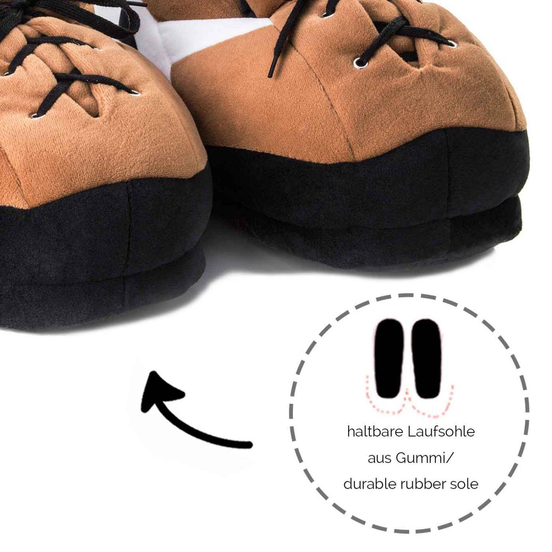 lustige sport pl schhausschuhe sneaker braun damen herren kinder puschen warm ebay. Black Bedroom Furniture Sets. Home Design Ideas