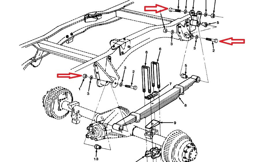 Screw Leaf Spring Rear Chevy Pick Up K30 Blazer K5 M1008